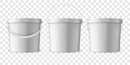 Vector Realistic 3d White Plastic Bucket for Food Products, Paint, Foodstuff, Adhesives, Sealants, Primers, Putty Set Isolated. Design Template of Packagin for Mockup. Front view.