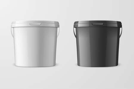 Vector Realistic 3d White and Black Plastic Bucket for Food Products, Paint, Foodstuff, Adhesives, Primers, Putty Isolated on White Background. Design Template of Packagin for Mockup. Front view. Ilustração