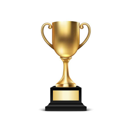 Realistic Vector 3d Blank Golden Champion Cup Icon Closeup Isolated on White Background. Design Template of Championship Trophy. Sport Tournament Award, Gold Winner Cup and Victory Concept. Çizim