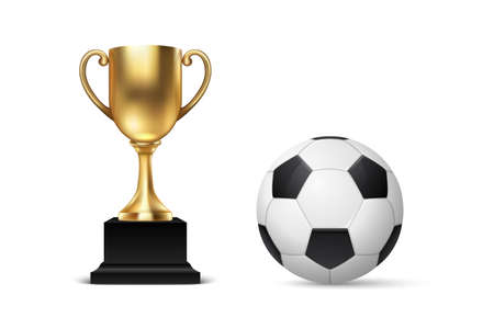 Realistic Vector 3d Blank Golden Champion Cup Icon wirh Soccer Ball Set Closeup Isolated on White. Design Template of Championship Trophy. Sport Tournament Award, Gold Winner Cup and Victory Concept.