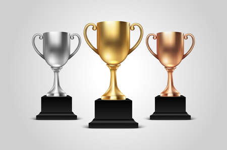 Vector 3d Blank Golden, Silver and Bronze Champion Cup Icon Set Closeup Isolated on White Background. Design Template of Championship Trophy. Sport Tournament Award, Winner Cup and Victory Concept. Çizim