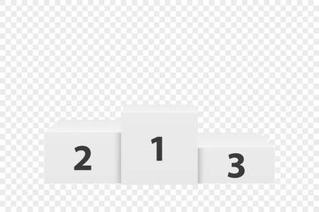 Primo piano del podio dei vincitori bianco 3d realistico isolato su sfondo trasparente. Vittoria, piedistallo del premio. Primo, secondo, terzo posto. Modello di progettazione