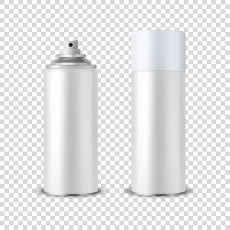 Vector 3d realista lata de aerosol en blanco blanco, botella de aerosol con tapa Closeup aislado sobre fondo transparente. Plantilla de diseño de lata pulverizadora para maquetas, paquetes, publicidad, laca para el cabello, desodorante, etc.