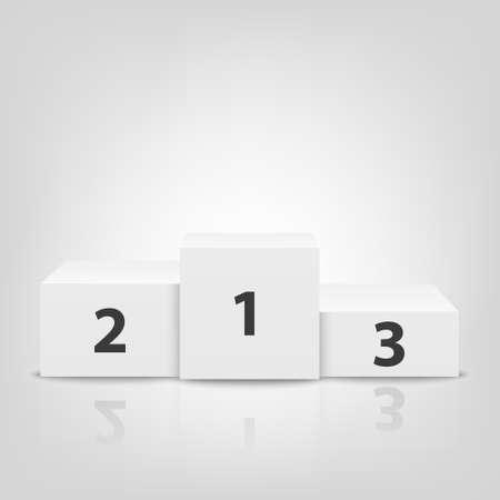 Realistische 3D-weiße Gewinner Podium Closeup isoliert auf weißem Hintergrund. Sieg, Auszeichnung Podest. Erster, zweiter, dritter Platz. Designvorlage