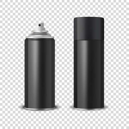 3d Realistic Black Blank Spray Can, Spray Bottle with Cap Closeup Isolated on Transparent Background. Design Template of Sprayer Can for Mock up, Package, Advertising, Hairspray, Deodorant etc
