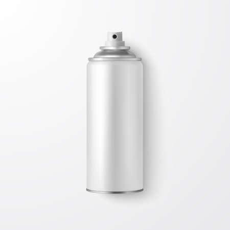 Vector 3d réaliste blanc blanc bombe aérosol, bouteille de pulvérisation libre isolé sur fond blanc. Modèle de conception de pulvérisateur pour maquette, emballage, publicité, laque, déodorant. Vue de dessus.