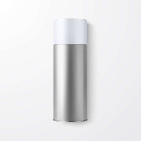 Vector 3d Realistic Silver Blank Spray Can, Spray Bottle Closeup Isolated on White Background. Design Template of Sprayer Can for Mock up, Package, Advertising, Hairspray, Deodorant. Top View.