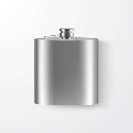 3d Realistic Silver Blank Stainless Steel Hip Flask Closeup Isolated on White Background.