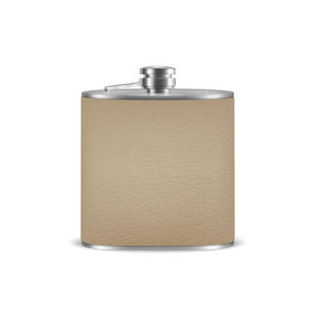 3d Realistic Silver Leather Blank Stainless Steel Hip Flask Closeup Isolated on White Background. Çizim