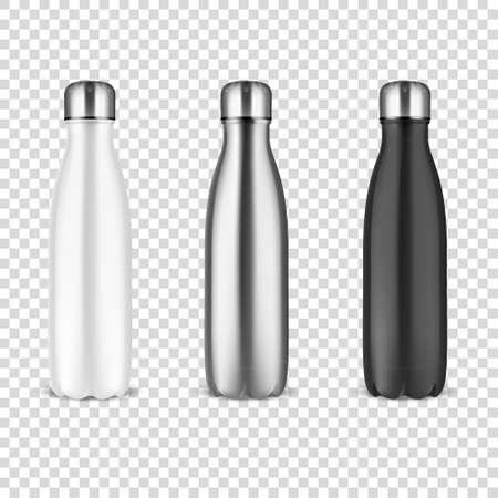 Realistische 3D-witte, zilveren en zwarte lege glanzende metalen herbruikbare waterfles met zilveren stop instellen close-up op transparantie raster achtergrond. Ontwerpsjabloon van verpakkingsmodel. Vooraanzicht