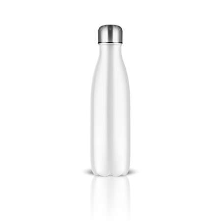 Realistic 3d White Empty Glossy Metal Reusable Water Bottle with Silver Bung Closeup on White Background.