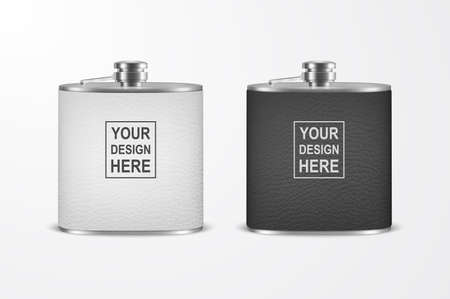 3d Realistic Leather Blank Stainless Steel Hip Flask Set Closeup Isolated on White Background.