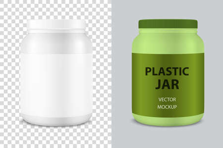 Vector Realistic 3d White Plastic Jar, Can with Lid Closeup Isolated . Design Template of Whey Protein, Sport Powder, Vitamins, BCAA, Pills, Caps for Mockup. Front View. Vettoriali