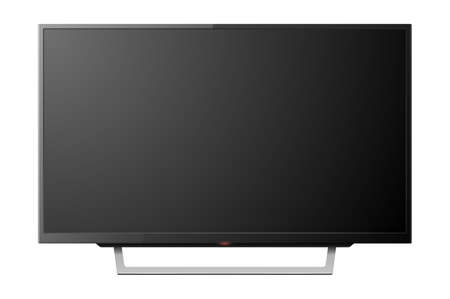 3d Realistic Black Blank TV Screenon Stand. Modern LCD LED Panel Set Closeup Isolated on White Background. Design Template of Large Computer Monitor Display for Mockup  イラスト・ベクター素材