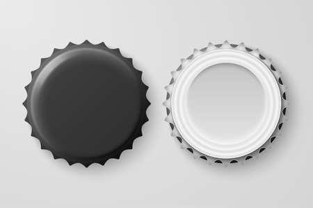 3D realistyczne czarne puste butelki piwa Cap zestaw zbliżenie na białym tle. Szablon projektu makiety, opakowania, reklamy. Widok z góry i z dołu