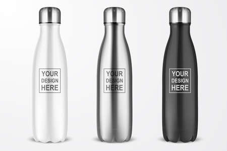 Vector Realistic 3d White, Silver and Black Empty Glossy Metal Reusable Water Bottle with Silver Bung Set Closeup Isolated on White Background. Design template of Packaging Mockup. Front View.