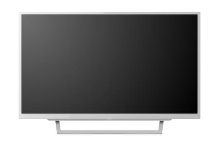 3d Realistic White Blank TV Screen on Stand. Modern LCD LED Panel Set Closeup Isolated on White Background. Design Template of Large Computer Monitor Display for Mockup