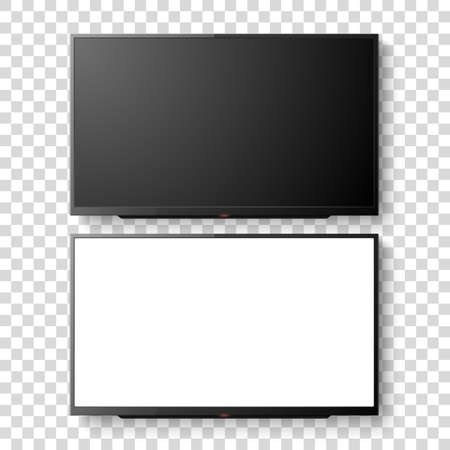 3d Realistic White Blank TV Screen Set. Modern LCD LED Panel Set Closeup Isolated on Transparent Background. Design Template of Large Computer Monitor Display for Mockup