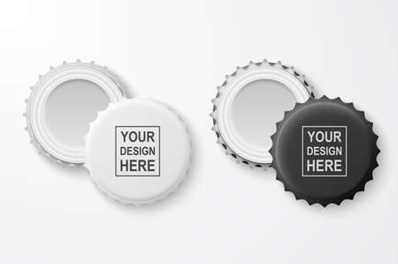3d Realistic Black and White Blank Beer Bottle Cap Set Closeup Isolated on White Background. Design Template for Mock up, Package, Advertising. Top and Bottom View