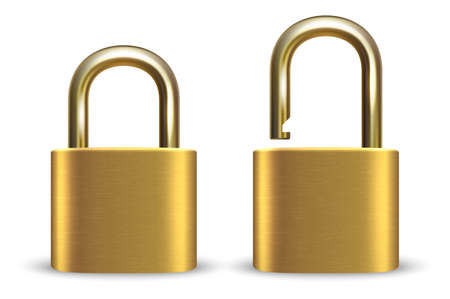 3d Realistic Closed and Opened Metal Golden Padlock Icon Set Closeup Isolated on White Background. Çizim