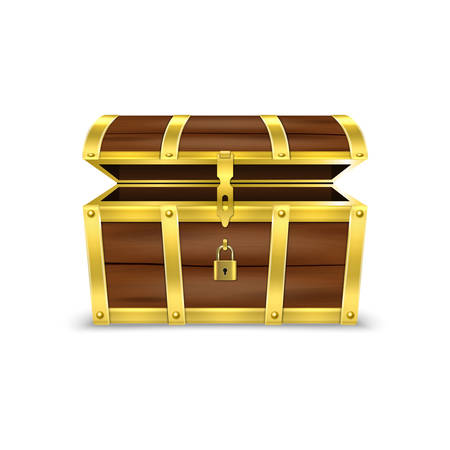 Vector 3d Realistic Opened Empty Retro Vintage Antique Old Treasure Wooden brown Pirate Dower Chest with Golden Metal Stripes and Padlock and Keyhole Closeup Isolated on White Background.