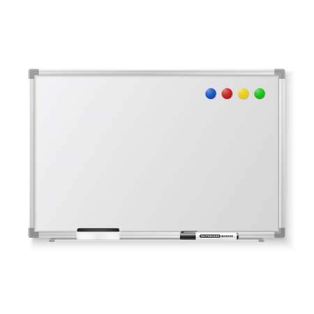 Vector 3d Realistic Blank Magnetic Whiteboard with Marker, Round Magnets and Board Sponge Closeup Isolated on White Background. Design Template for Mockup, Presentations, Training. Education Concept.