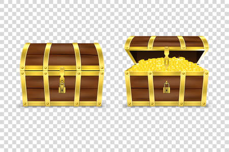 Vector 3d Realistic Closed and Opened Retro Vintage Antique Old Treasure Wooden Pirate Dower Chest with Glow Gold Coins and Padlock Closeup Isolated on Transparent Background. Design Template. Illustration
