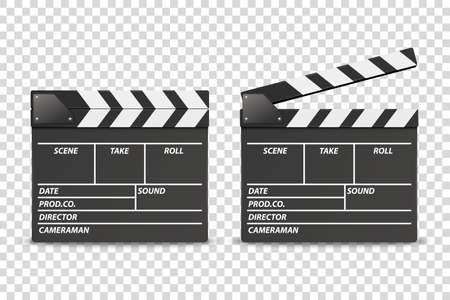 Vector 3d Realistic Blank Closed and Opened Movie Film Clap Board Icon Set Closeup Isolated on Transparent Background. Design Template of Clapperboard, Slapstick, Filmmaking Device. Front View.