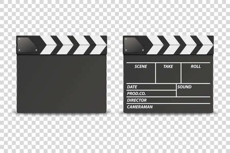 Vector 3d Realistic Closed Movie Film Clap Board Icon Set Closeup Isolated on Transparent Background. Design Template of Clapperboard, Slapstick, Filmmaking Device. Front View.