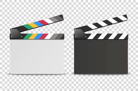 Vector 3d Realistic Opened White and Black Blank Movie Film Clap Board Icon Set Closeup Isolated on Transparent Background. Design Template of Clapperboard, Slapstick, Filmmaking Device. Front View.