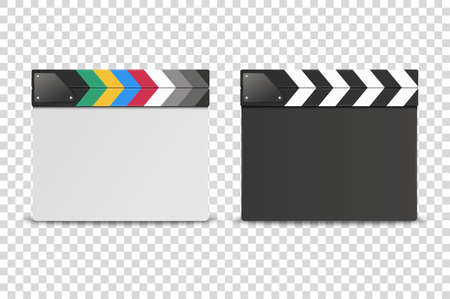 Vector 3d Realistic Closed White and Black Blank Movie Film Clap Board Icon Set Closeup Isolated on Transparent Background. Design Template of Clapperboard, Slapstick, Filmmaking Device. Front View. 向量圖像