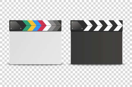 Vector 3D-realistische gesloten witte en zwarte lege film Film Clap Board Icon Set close-up geïsoleerd op transparante achtergrond. Ontwerpsjabloon van Filmklapper, Slapstick, Filmmakend apparaat. Vooraanzicht. Vector Illustratie