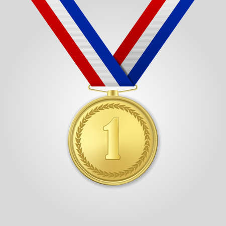 Medaglia d'oro realistica di vettore 3d con il primo piano del nastro di colore isolato su cenni storici bianchi. Il primo posto, premio. Torneo sportivo, concetto di vittoria