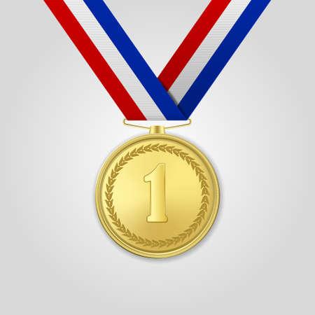 Vector 3d realistische Gold-Preis-Medaille mit Farbband-Nahaufnahme lokalisiert auf weißem Hintergrund. Der erste Platz, Preis. Sportturnier, Siegkonzept