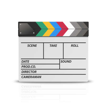 Vector 3d Realistic Blank Closed Movie Film Clap Board Icon Closeup Isolated on White Background. Design Template of Clapperboard, Slapstick, Filmmaking Device. Front View