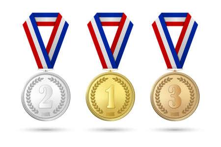Vector 3d realista medalla de premio de oro, plata y bronce conjunto de iconos con cintas de colores Closeup aislado sobre fondo blanco. Primer, segundo, tercer lugar, premios. Torneo deportivo, concepto de victoria Ilustración de vector