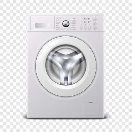 Vettore 3d realistico moderno acciaio bianco lavatrice icona closeup isolato su sfondo trasparente. Modello di progettazione di Wacher. Vista frontale, concetto di lavanderia