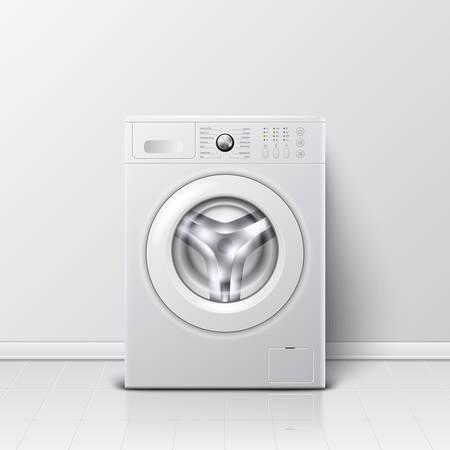Vector Hintergrund mit realistischer moderner weißer Stahlwaschmaschinennahaufnahme 3d. Hintergrund. Designvorlage von Wacher. Vorderansicht, Wäschekonzept