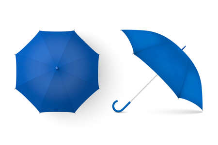 Vector 3d Realistic Render Blue Blank Umbrella Icon Set Closeup Isolated on White Background. Design Template of Opened Parasols for Mock-up, Branding, Advertise etc. Top and Front View Illustration