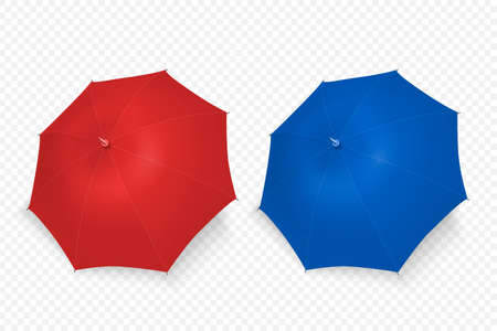 Vector 3d Realistic Render Red and Blue Blank Umbrella Icon Set Closeup Isolated on Transparent Background. Design Template of Opened Parasols for Mock-up, Branding, Advertise etc. Top View