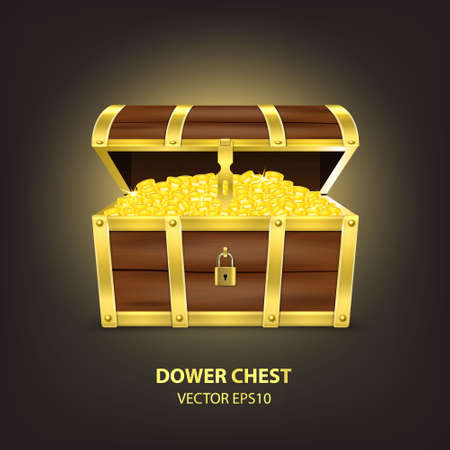 Vector 3d Realistic Closed and Opened Retro Vintage Antique Old Treasure Wooden brown Pirate Dower Chest with Golden Metal Stripes, Padlock and Keyhole Closeup Isolated on Dark Background.