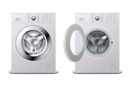 Vector 3d Realistic Modern White Steel Closed and Opened Washing Machine Icon Set Closeup Isolated on White Background. Design Template of Wacher. Front View, Laundry Concept.