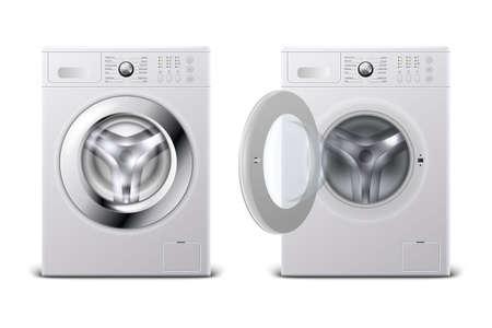 Vector 3d realistico moderno acciaio bianco chiuso e aperto lavatrice icona impostare primo piano isolato su sfondo bianco. Modello di progettazione di Wacher. Vista frontale, concetto di lavanderia.