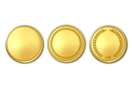 Vector 3d Realistic Golden Metal Blank Coin Icon Set Closeup Isolated on White
