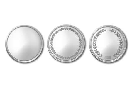 Vector 3d Realistic Silver Metal Blank Coin Icon Set Closeup Isolated on White