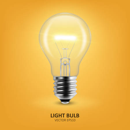 Vector 3d Realistic Turning On Light Bulb Icon Closeup on Yellow Background. Design Template, Clipart. Glowing Incandescent Filament Lamps. Creativity Idea, Business Innovation Concept.