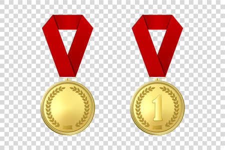 Vector 3d Realistic Gold Award Medal Icon Set with Color Ribbons Closeup Isolated on Transparent Background. Design Template, Mockup. Blank and The First Place, Prize. Sport Tournament, Victory Concept.