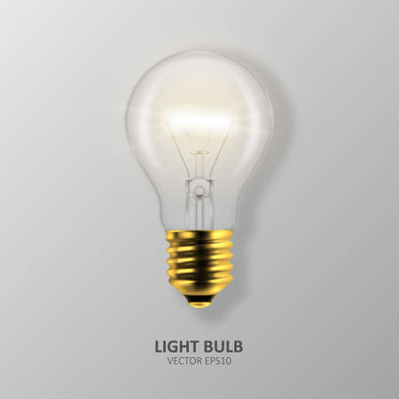Vector 3d Realistic Golden Turning On Light Bulb Icon Closeup Isolated on Gray Background. Design Template, Clipart. Glowing Incandescent Filament Lamps. Creativity Idea, Business Innovation Concept.