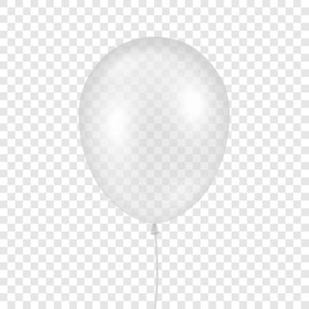Vector 3d Realistic Transparent Balloon Icon Closeup Isolated on Transparent Background. Design Template of Helium Balloon for Mockup. Anniversary, Birthday Party. Front View