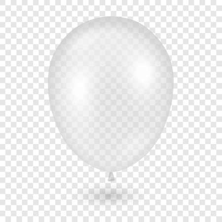 Vector 3d Realistic Transparent Balloon Icon Closeup Isolated on Transparent